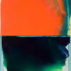 Italo Bressan, Mi ascolto, olio su tavola e colori su vetro, 100x50cm, 2005