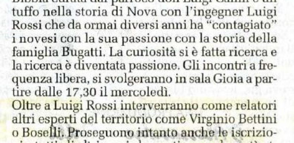 2010 ottobre 2 - annuncio corso storia di Nova Luigi Rossi - il cittadino