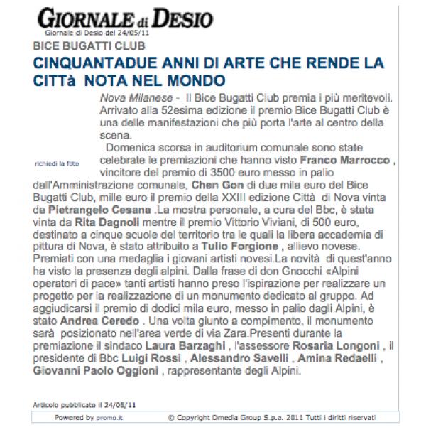 2011 maggio 24 - premio BB GS - giornale di desio