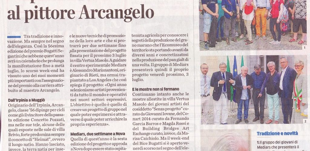 2015 56° Premio BBGS Premio Carriera ad Arcangelo articolo Il Cittadino 27 giugno