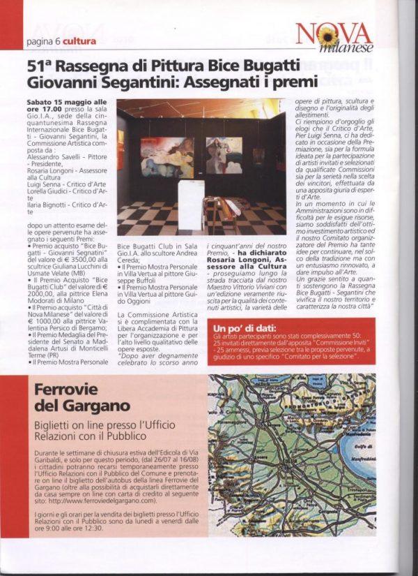 Informatore comunale Nova Milanese 2010 giugno - Premio Bice Bugatti Giovanni Segantini
