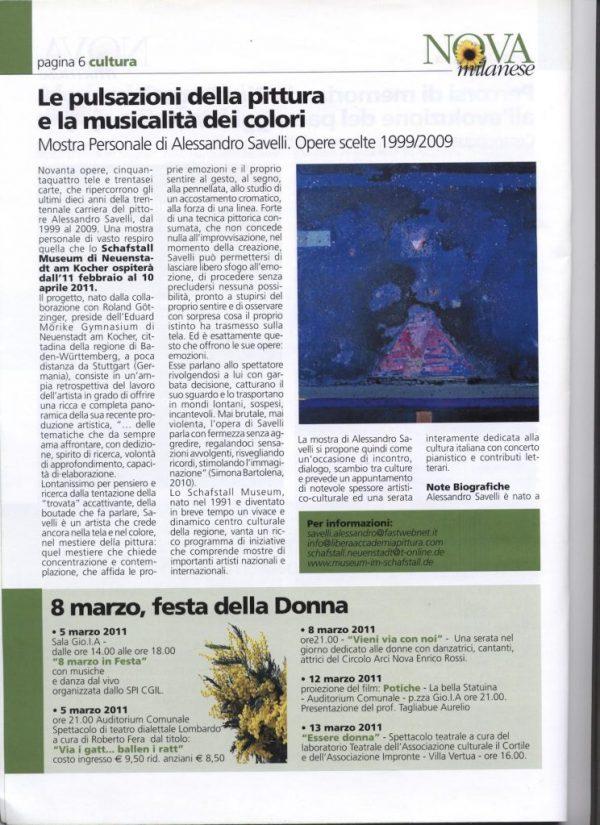 Informatore comunale Nova Milanese 2011 marzo - mostra personale Savelli