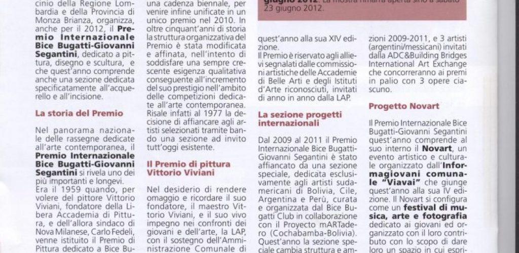 Informatore comunale Nova Milanese 2012 aprile Premio Bice Bugatti Giovanni Segantini