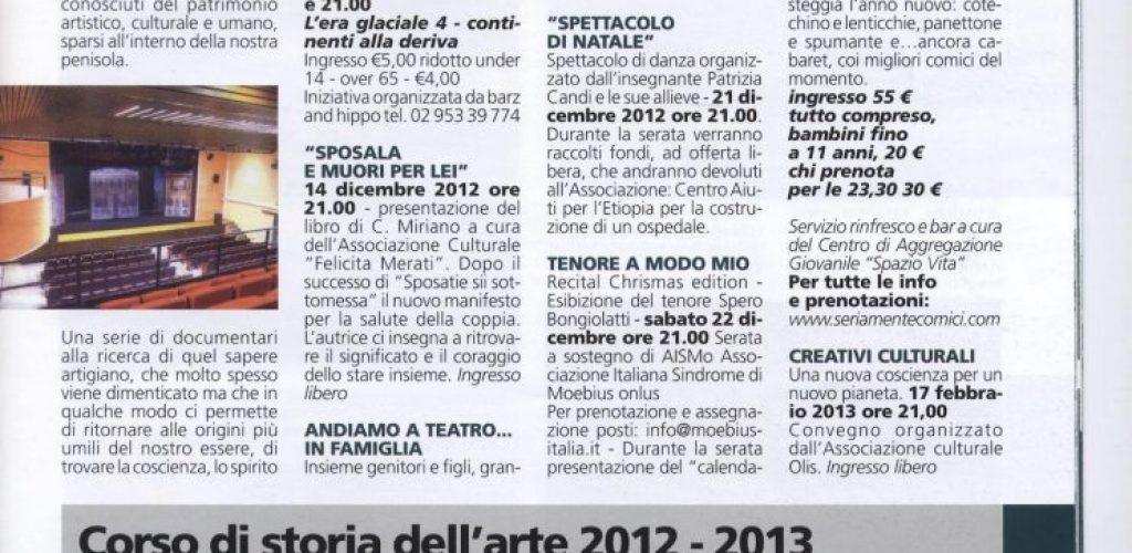 Informatore comunale Nova Milanese 2012 dicembre corso storia dell'arte LAP