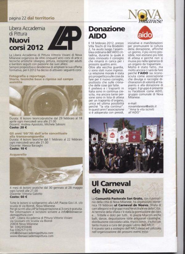 Informatore comunale Nova Milanese 2012 febbraio corsi LAP