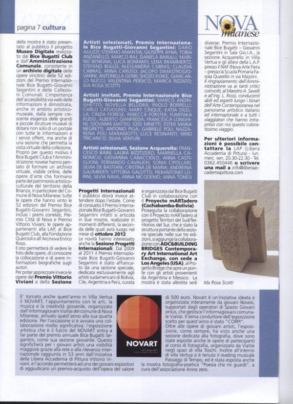 Informatore comunale Nova Milanese 2012 giugno premio bice bugatti giovanni segantini