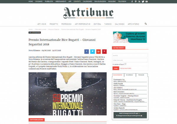 Rassegna stampa - apertura premio 2018 - artribune